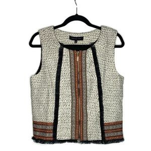 English Rose Womens Embroidered Knit Vest W/Fringe